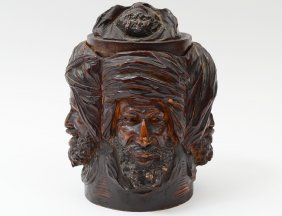 Well Carved Wood Tobacco Jar And Cover
