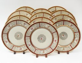 Set Of Twelve Porcelain Service Plates