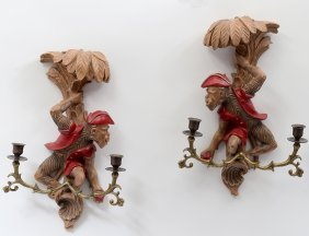 Pair Of Brass And Painted Composition Monkey Sconces
