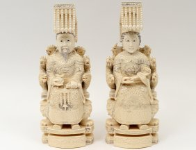 Large Pair Of Carved Ivory Emperor And Empress