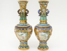 Pair Of Imperial Yellow Enamel Vases