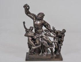 Patinated Bronze Group Of Hercules