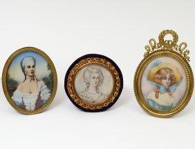 Three Miniature Paintings On Ivory