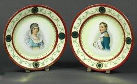 Pair Napoleon & Marie Louise Porcelain Plates