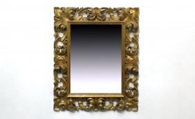 Gold Painted Finely Carved Rococo Style Frame
