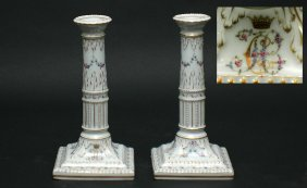 Pair Antique Finely Painted Porcelain Candlestick