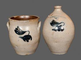 Lot Of Two: C. BOYNTON / TROY, NY Stoneware Jug And Mat