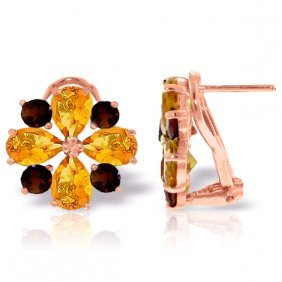 14k Rose Gold French Clips Earrings With Citrines & Gar