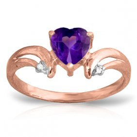 14k Rose Gold Heart Amethyst Diamond Ring