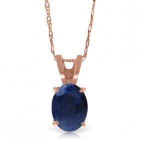 14k Rose Gold Solitaire Sapphire Necklace