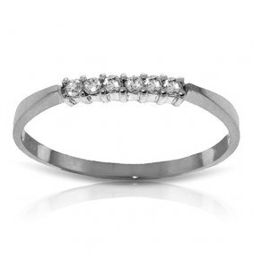 0.1 Ctw Platinum Plated Sterling Silver Ring Natural Di