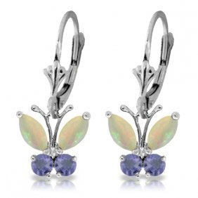 14k White Gold Butterfly Earrings With Opals & Tanzanit