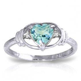 14k White Gold Sunny Afternoon Blue Topaz Diamond Ring