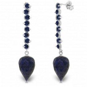 14k White Gold Drop Briolette Sapphires Earrings