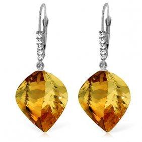 14k White Gold Leverback Earringsdiamond & Briolette Ci