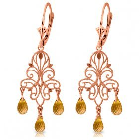 14k Rose Gold Chandelier Earrings With Citrines