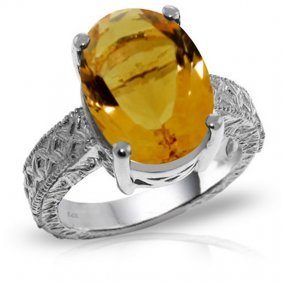 14k. White Gold Ring With Oval Citrine