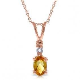 14k Rose Gold Lovemaking Citrine Diamond Necklace