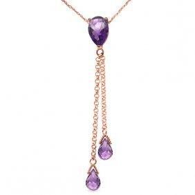 14k Rose Gold Necklace With Purple Amethysts