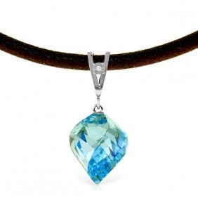 14k White Gold & Leather Necklace Diamond & Blue Topaz