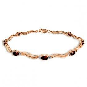 14k Rose Gold Tennis Bracelet With Diamonds & Garnets