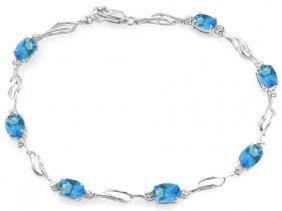14k White Gold Magical Words Blue Topaz Diamond Bracele