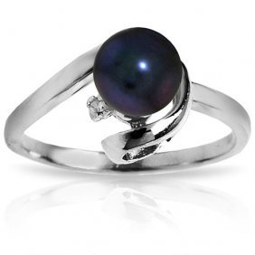 Platinum Plated Sterling Silver Ring With Natural Diamo