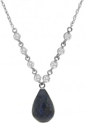 14k White Gold Love Conquers Sapphire Diamond Necklace