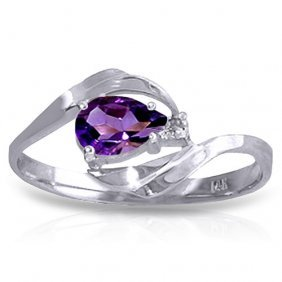 0.41 Ctw Platinum Plated Sterling Silver Waves Amethyst