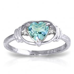 0.96 Ctw Platinum Plated Sterling Silver Glory Blue Top