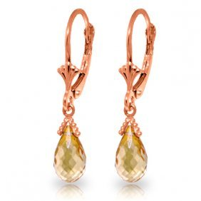 14k Rose Gold Leverback Earrings With Briolette Citrine
