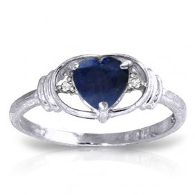 1.01 Ctw Platinum Plated Sterling Silver Glory Sapphire
