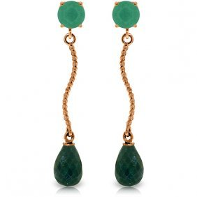 14k Rose Gold Dangling Earrings With Green Sapphire Cor