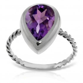14k. White Gold Rings With Natural Pear Shape Amethyst