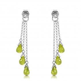 14k White Gold Chandeliers Earrings With Diamonds & Per