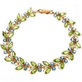 14k Rose Gold Butterfly Bracelet With Peridot & Blue To
