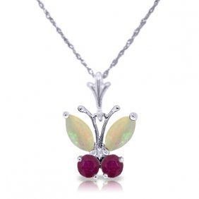 14k White Gold Butterfly Necklace With Opals & Rubies