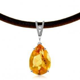 14k White Gold Unfurl Citrine Diamond Necklace