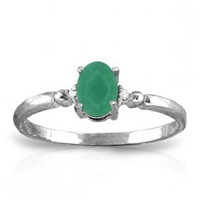 14k. White Gold Ring With Natural Diamonds & Emerald