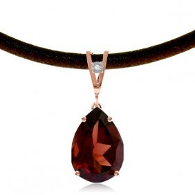 14k Rose Gold Magnitude Garnet Diamond Necklace