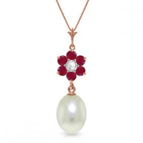 14k Rose Gold Necklace W/ Pearl, Rubies & Diamond