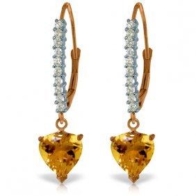 14k Rose Gold Lever Back Earrings W/natural Diamonds &