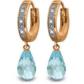 14k Rose Gold Tres Chic Blue Topaz Diamond Earrings