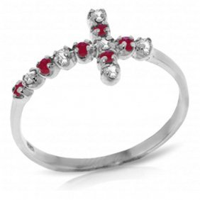 0.24 Ctw Platinum Plated Sterling Silver Cross Ring Dia