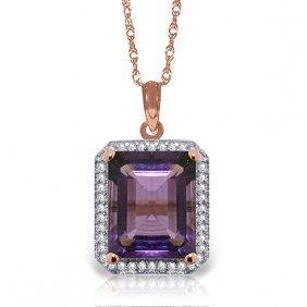 14k Rose Gold Isabella Amethyst Diamond Necklace