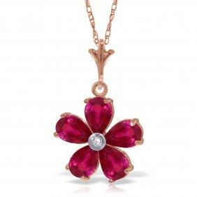 14k Rose Gold Necklace With Rubys & Diamond