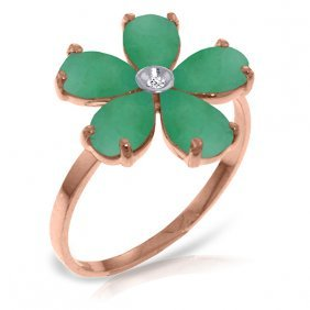 14k Rose Gold Emeralds Rule Emerald Diamond Ring