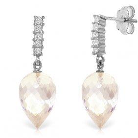 14k White Gold Serenity Of Love White Topaz Diamond Ear