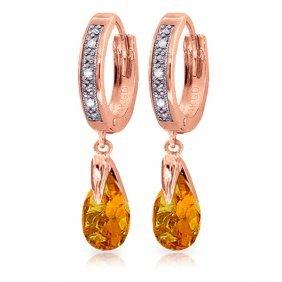 14k Rose Gold Hoop Earrings With Diamonds & Citrines