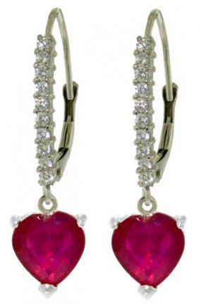 14k White Gold Lever Back Earrings W/natural Diamonds &